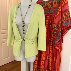 100% Cotton Lime Cardgan Small 34-37 bust